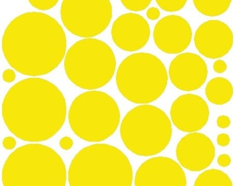 34 Yellow Polka Dot Wall Stickers Removable Polka Dot Decals Art