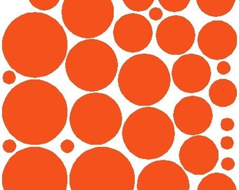 34 Orange Polka Dots Decals Removable Wall Stickers