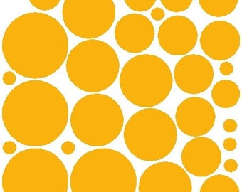 34 Dark Yellow Polka Dot Wall Stickers Removable Polka Dot Decals Art