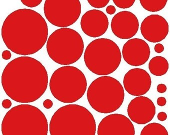 34 Red Polka Dot Decals Removable Polka Dot Wall Stickers