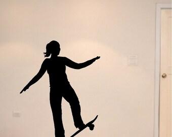 Girl Skateboard Decal Removable Skateboard Wall Sticker