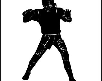 Quarterback Football Wall Decal Removable Football Vinyl Wall Sticker Graphic