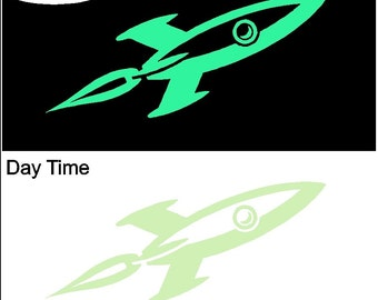 Glow in the Dark Rocket Ship Decal Wall Sticker Removable Outer Space Wall Art