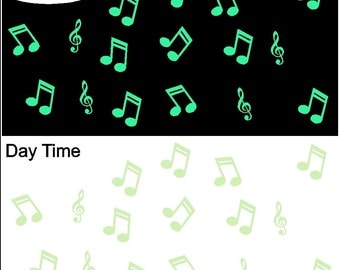 Glow in the Dark Music Note Decals Removable Music Note Wall Stickers