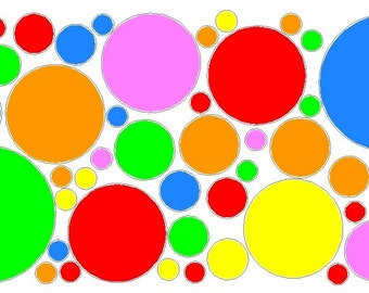 52 Peel and Stick Multi Colors Polka Dots Stickers Decals Removable/Repositionable Wall Art
