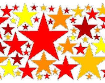 80 Peel and Stick Red/Orange/Yellow Stars Decals Removable/Repositionable Wall Art