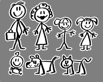 Stick People Car Decals Family Stic k People Car Stickers    Family Stickers For Cars Vector