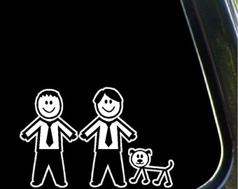 Two Males and Dog Stick Family Car Decals Removable Stick People Stickers