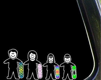 Snowboarding Stick People Car Decals Snowboard Family Car Stickers Graphics Item #2