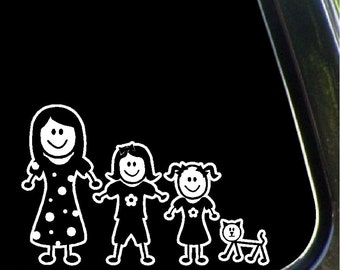 Mom, Daughters and Cat Stick Car Decals Stick Family Car Stickers