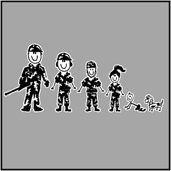Army Family Car Decal Military Stick People Car Stickers - Family car sticker decalsfamily car decals ebay