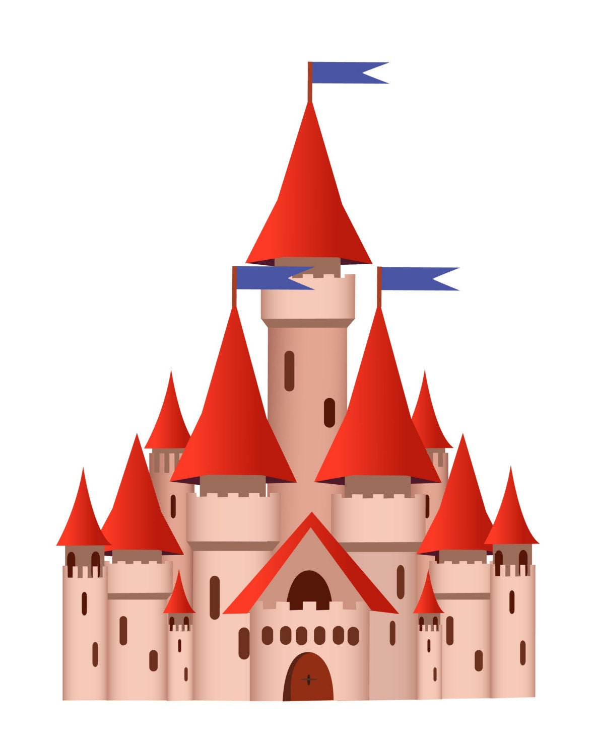 Peel and stick castle sticker repositionable removable castle for Castle wall mural sticker
