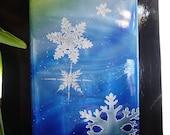 ORIGINAL METAL ART, Aurora, Original Polyurethane Brushed Metal Fine Art Painting, Snowflakes, Stormy Snow Swirls, Big art, ChristieMarieArt