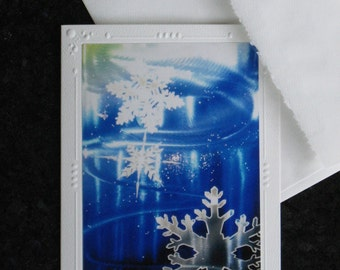 SET OF 5  Snowflake brushed metal Art print Note Cards + envelope, Greeting Cards, snowboard, ski, snow, mountain storm by Christie