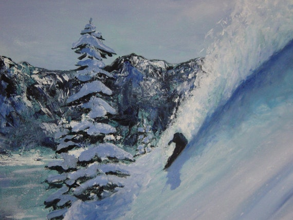 Snow Plume / Lake Tahoe Snowboarder/ Skier riding deep Powder ORIGINAL OIL painting on gallery wrapped canvas