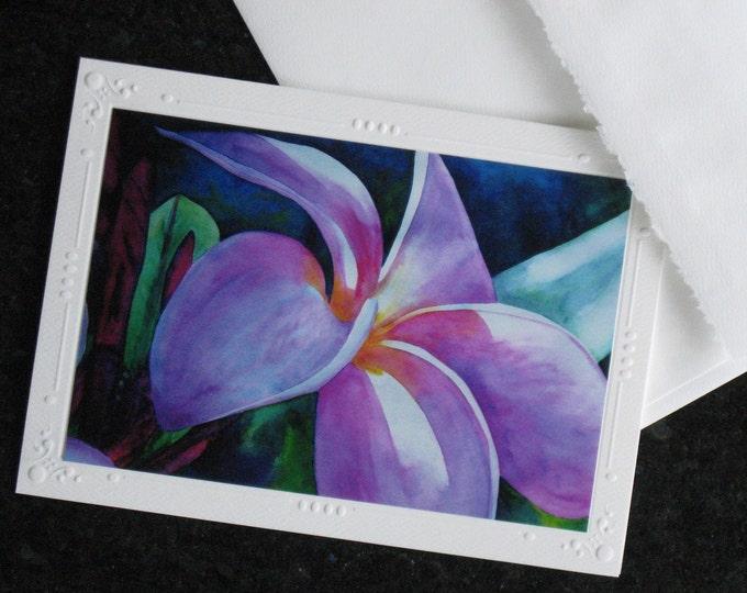 "SET OF 5 Pink Hawaiian Plumeria Embossed Art Print Greeting Card / Note Cards ""Blooming"" with envelope Tropical Flower Art"