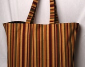 Convenient Large Sized Tote in a Neutral Stripe