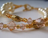 On Sale Pearl and Crystal Gold Accent Bracelet and Earrings Set