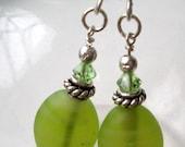 Olive Bali Swarovski Earrings
