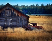 HDR Photography: Truck and Barn, Rustic Arizona, Southwest Country, Western Landscape, Farm, Ranch