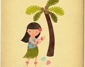 Hawaiian Hula Girl - Customizable 8x10 Archival Art Print