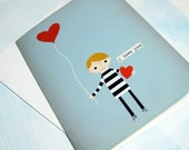 I Love You - Boy with Balloon - Note Card