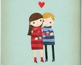 Hugs - Couple - Customizable 8x10 Archival Art Print