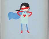 Super Hero Girl - Customizable 8x10 Archival Art Print