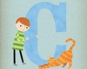 C is for Cat - Customizable 8x10 Alphabet Art Print