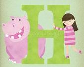 H is for Hippo - Customizable 8x10 Alphabet Art Print