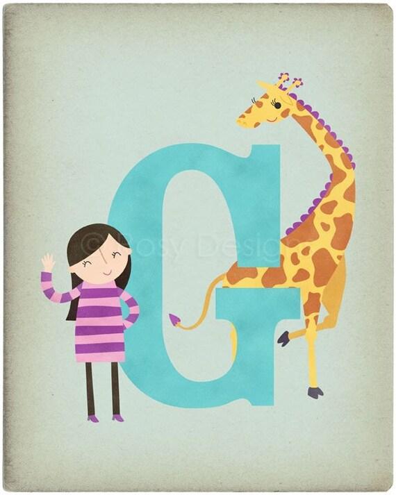 G is for Giraffe - Customizable 8x10 Alphabet Art Print