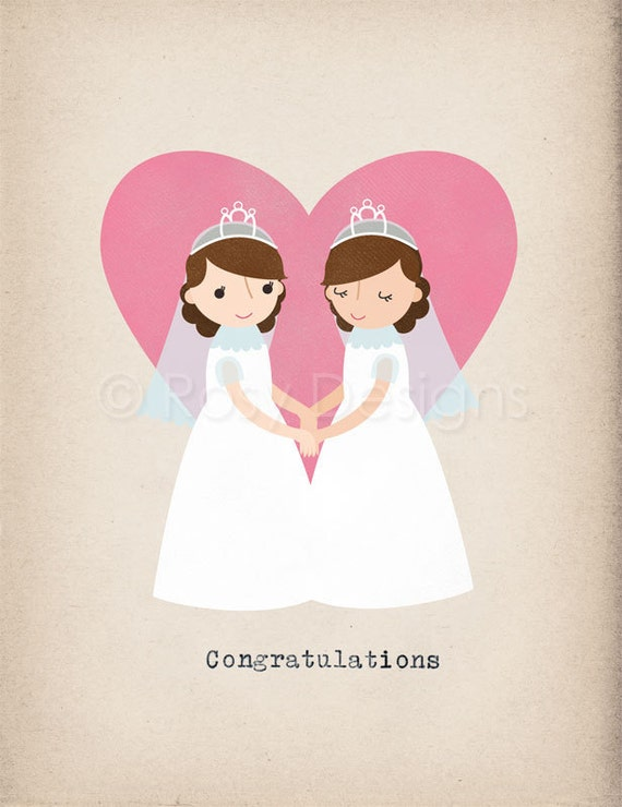 items similar to two brides congratulations note card
