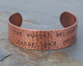 Copper Cuff Bracelet 3\/4 Hand Stamped Personalized Textured Bracelet