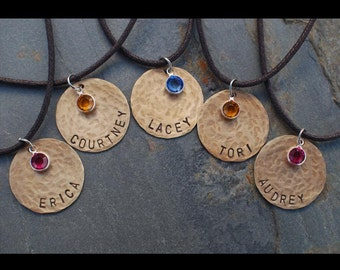 Friendship Necklaces     Set of  5     Personalized Handstamped Necklaces