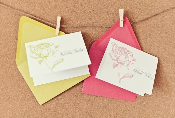 Peony Personalized Stationery Note Card Set