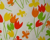 Vintage Wallpaper Bright Retro Mod modern vinyl wall paper Yellow Orange Red Lime Green Tulips and Butterflies home decor or craft supplies