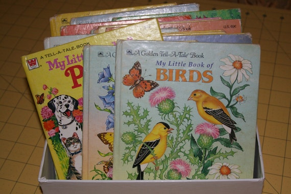 Vintage Childrens Books - Bundle of 13 Golden and Whitman Tell a Tale Books for kids or Crafts - birds bugs animals Classics