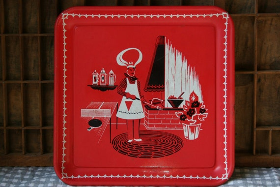 Vintage Mid-Century Metal Tray in fabulous Mod colors red white and black chef scene perfect gift for chef or vintage collector