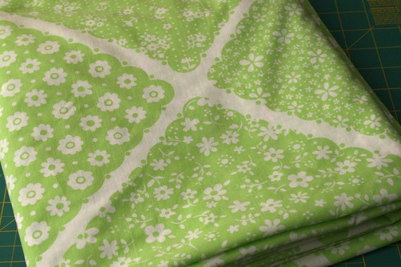 Vintage bed sheet linen Fabric pale pastel green faux Patchwork design with sweet white daisy flowers reclaimed bed sheet fabric