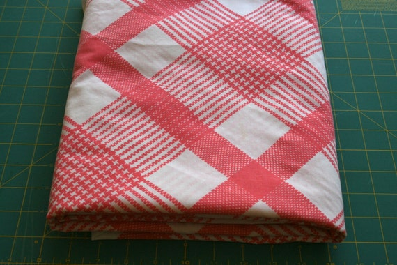 Vintage pink plaid Reclaimed Bed sheet linen Fabric on white with houndstooth print detail Funky retro rockabilly look perfect for quilting
