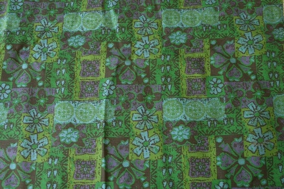 Vintage cotton Canvas Fabric grunge grungy style floral print in greens and blues patchwork geometric medallions apparel decor fabric 2 yard