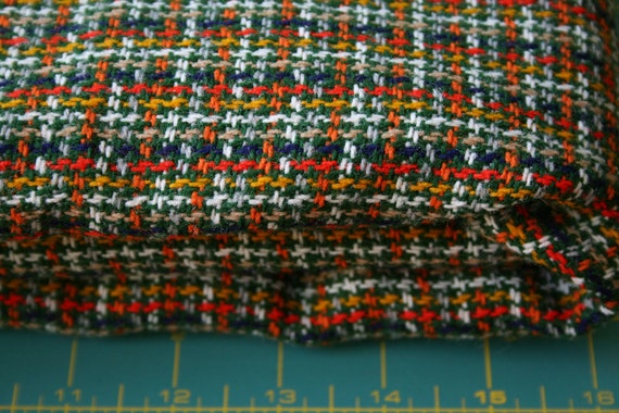 Vintage Woven Wool Fabric hounds tooth plaid in retro Fab 70s colors Mustard gold orange yellow navy blue gray white tan kelly forest green