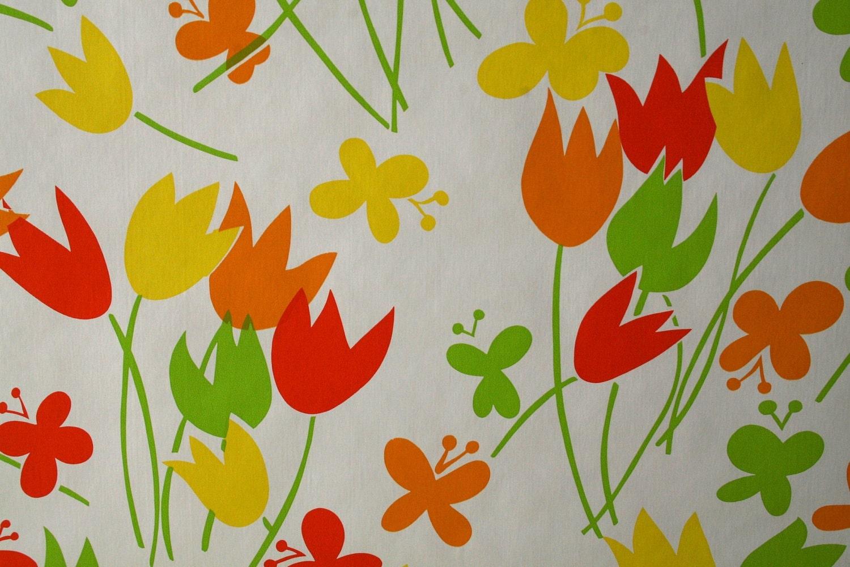 Vintage wallpaper bright retro mod modern vinyl wall paper for Bright wallpaper for walls