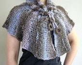 Blue Gray Beige Color Knitted Claire's Capelet Poncho Wrap Collar with Crocheted Rings
