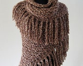Outlander Inspired Claire's Shawl Light Brown Color Women Chunky Knitted Wrap Stole with Long Fringes