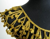 Mustard Gold Color Woman Crocheted Lacy Fiber Statement Collar Necklace