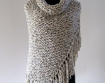 Outlander Inspired Light Beige Taupe Off White Color Chunky Knitted Shawl Stole Wrap with Long Fringes