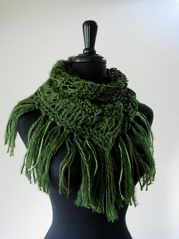 Jade Forest Green Color Knitted Women Fashion Lacy Fringed Scarf with Long Tassels