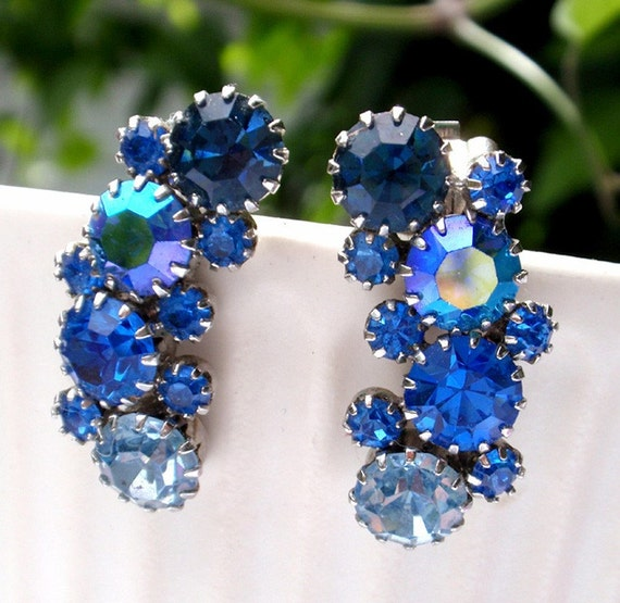 Karu Blue Earrings Vintage Rhinestone Weiss Styling
