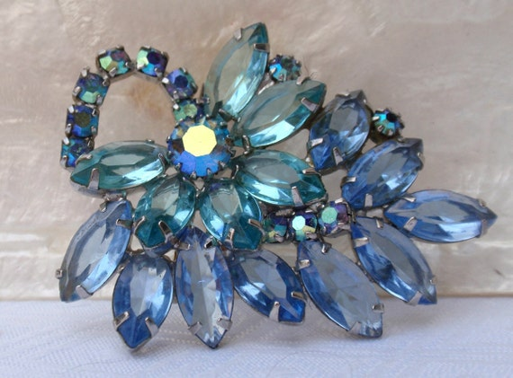 Juliana Style Two Blues Brooch Unfoiled Rhinestone